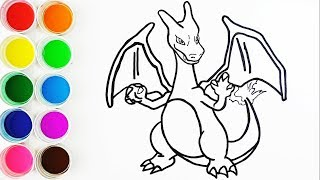 Cómo Dibujar y Colorear Charizard de Pokemon - Dibujos Para Niños - Learn Colors / FunKeep