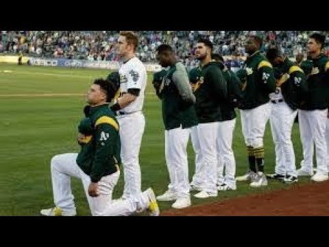 OAKLAND A'S BRUCE MAXWELL TAKES A KNEE DURING ANTHEM!