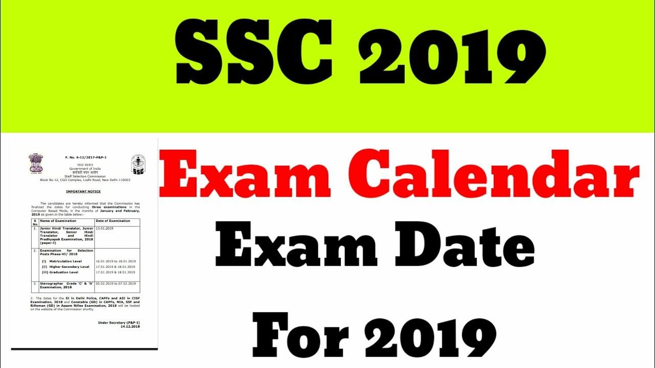 Ssc calendar 2019