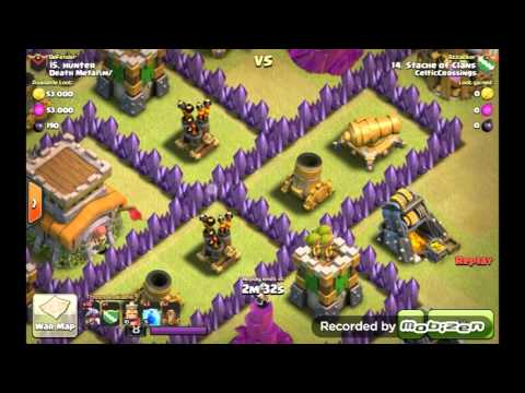 Destroy 2 level 6 air defense with 3 lightning: A quick look at how to destroy 2 level 6 air defenses using 3 level 5 lightning and a level 1 earthquake.  If you would like to test this out for yourself without searching and attacking a random person, you can try it against the goblin map titled Megamansion.  There you can practice against air defenses that are either 1 space away or 2 spaces away from each other