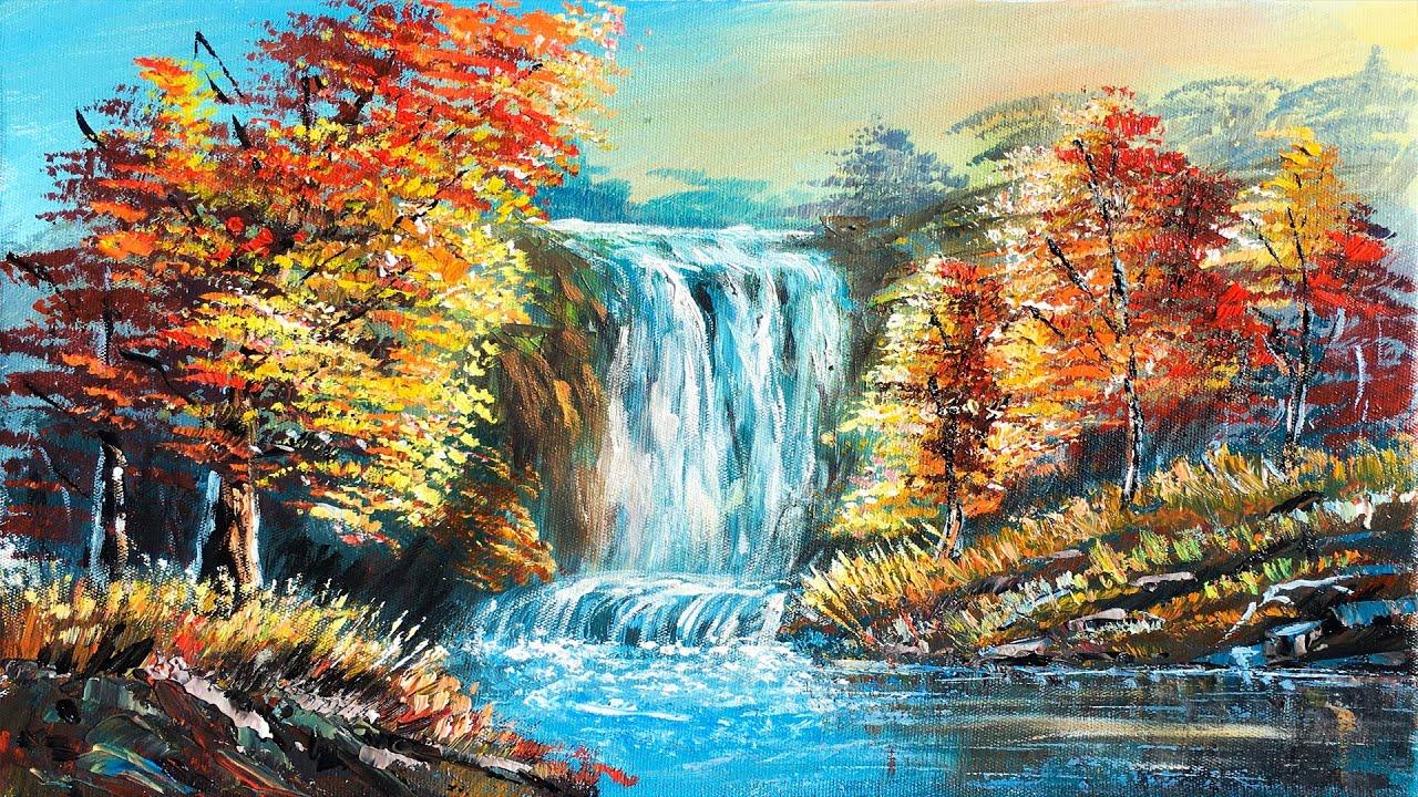 Autumn Waterfall Painting   Easy  Acrylic Painting Hidden Autumn Waterfalls Landscape Painting