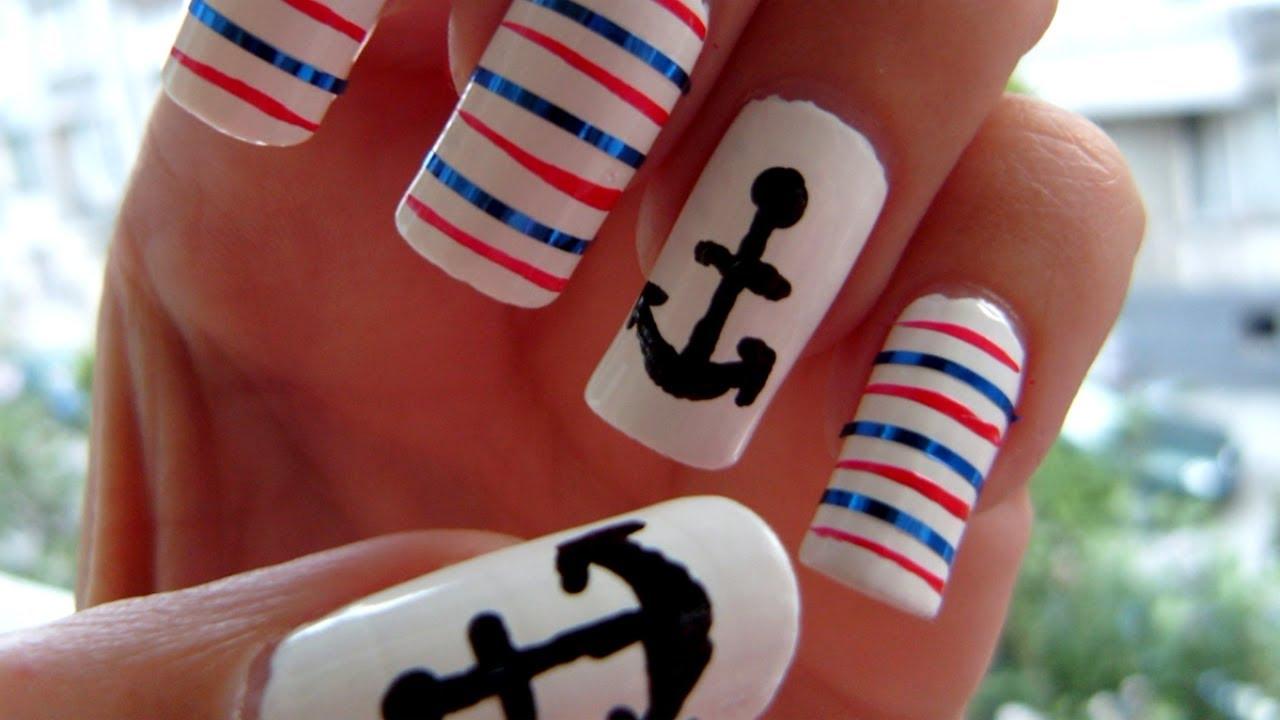 Anchor nail art tutorial youtube anchor nail art tutorial prinsesfo Choice Image