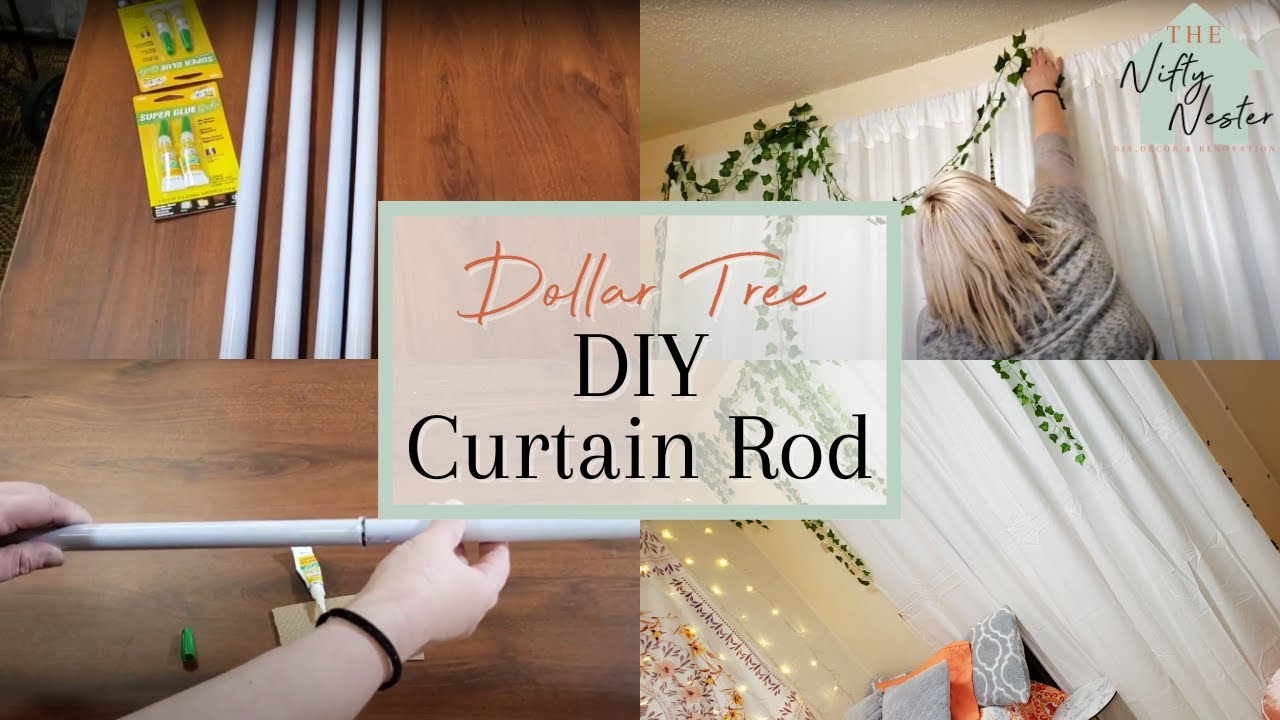 dollar tree diy curtain rods dorm