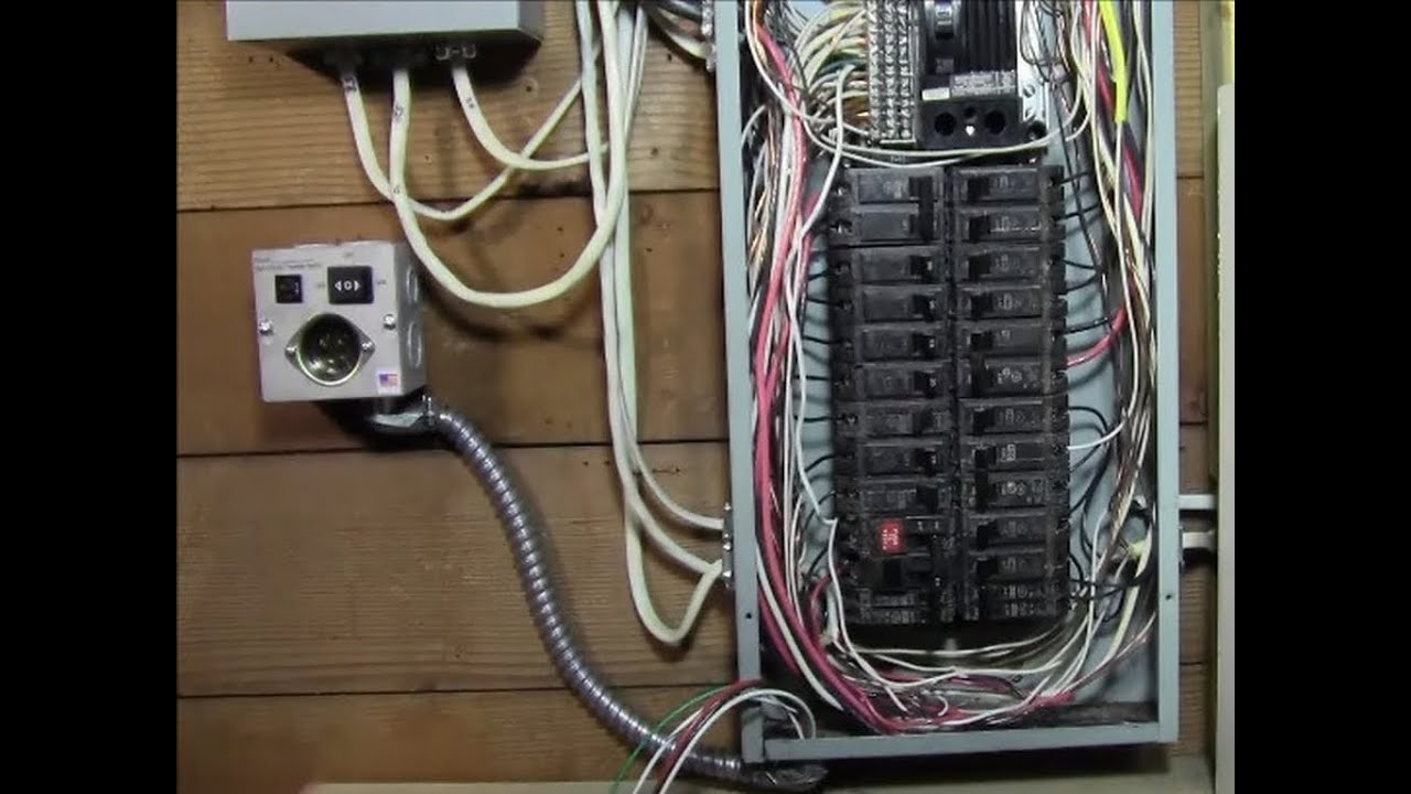 ricksdiy how to wire generator transfer switch to a circuit breaker rh youtube com Wiring a Breaker Main Breaker Panel Wiring Diagram