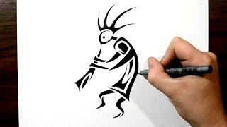 How to Draw Kokopelli - Tribal Tattoo Design Style