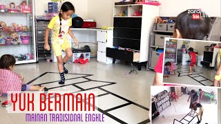 Zara Cute main Engkle | How to Play Hopscotch - Traditional Games | Mainan Anak Murah Sehat Pintar