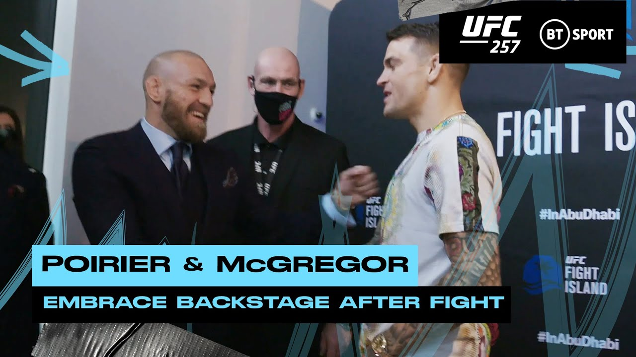Incredible moment as Conor McGregor and Dustin Poirier meet backstage after UFC 257