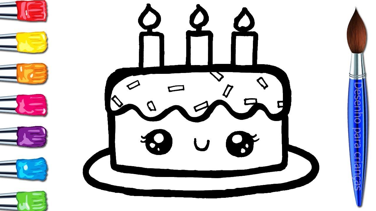 Como Desenhar Um Bolo De Aniversário Desenhos Para Desenhar Vídeo De Desenhar