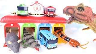 Dinosaurs & Tayo Adventure! Tayo Garage in Danger~ Learn Names of Dinosaurs. Fun Toys for Kids. 공룡