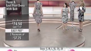 Tiana B. Leaf Print Dress with Belt at The Shopping Channel 580031
