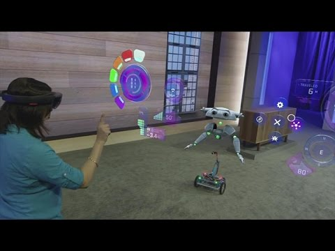CNET News - Using HoloLens, Microsoft overlays physical robot with holographic robot