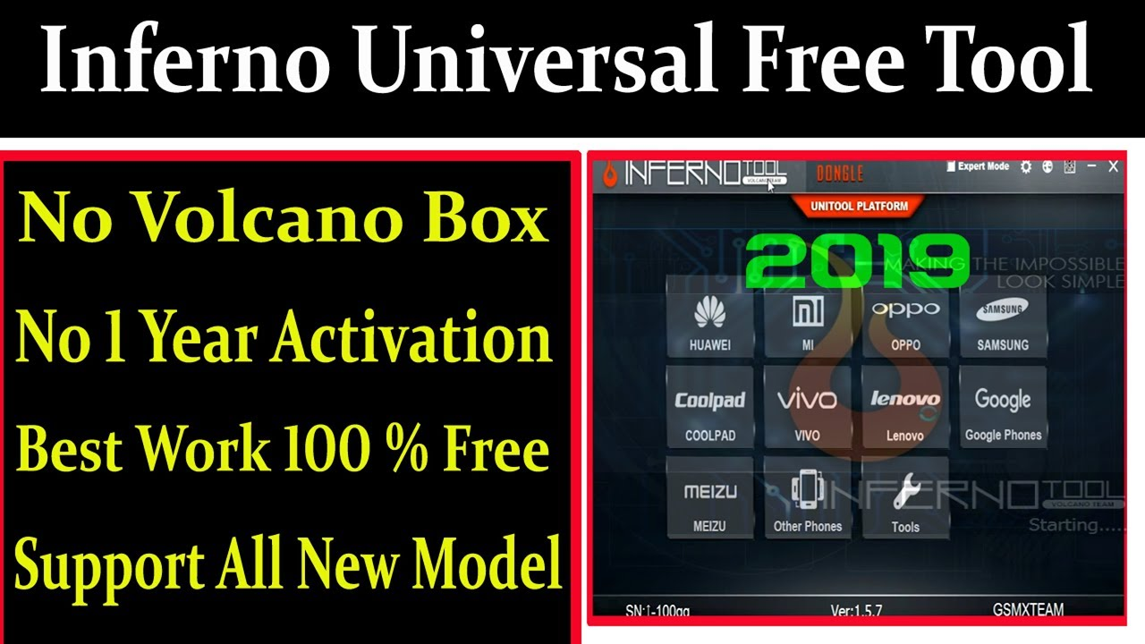 Inferno Universal Free Tool 2019 Best Work All New Model By AMS TECH