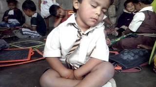 Funny sleeping at school boy
