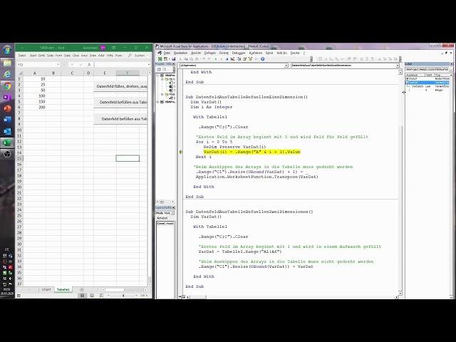 124. Excel-VBA: coole Sache -  Datenfeld aus Tabelle befüllen (eindimensional und zweidimensional)