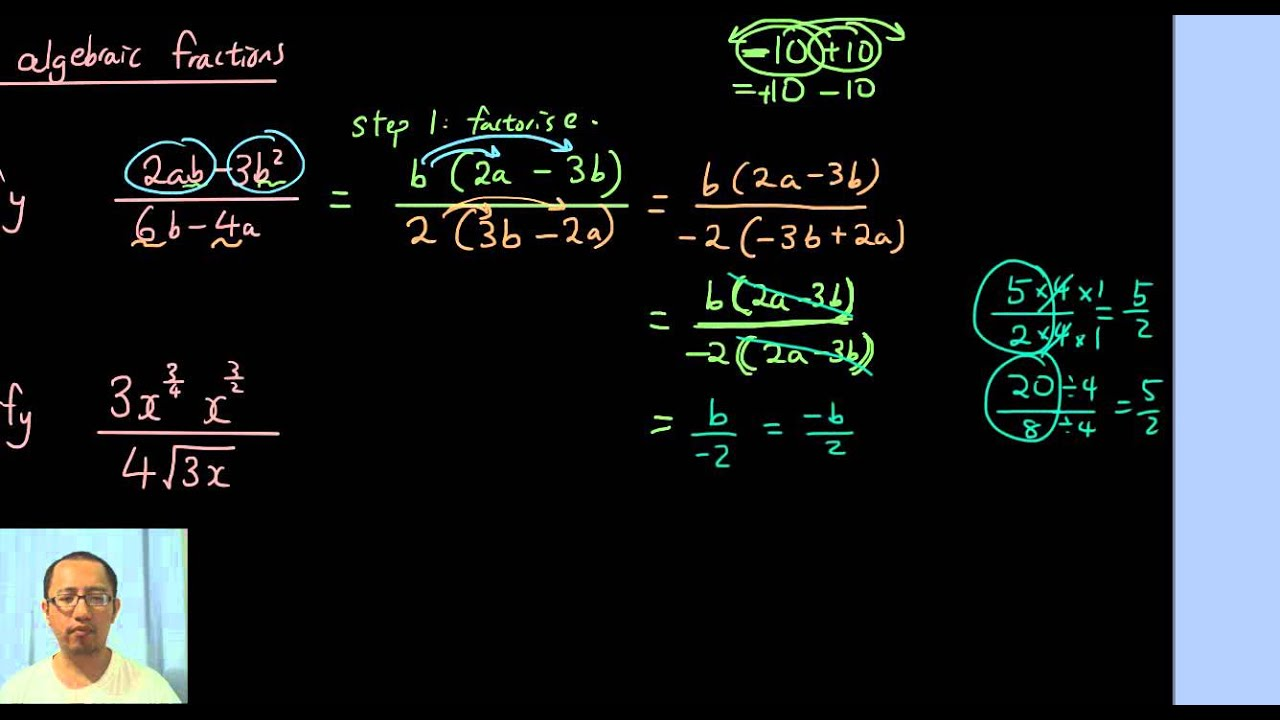 Practice Question Simplifying Algebraic Fractions Using