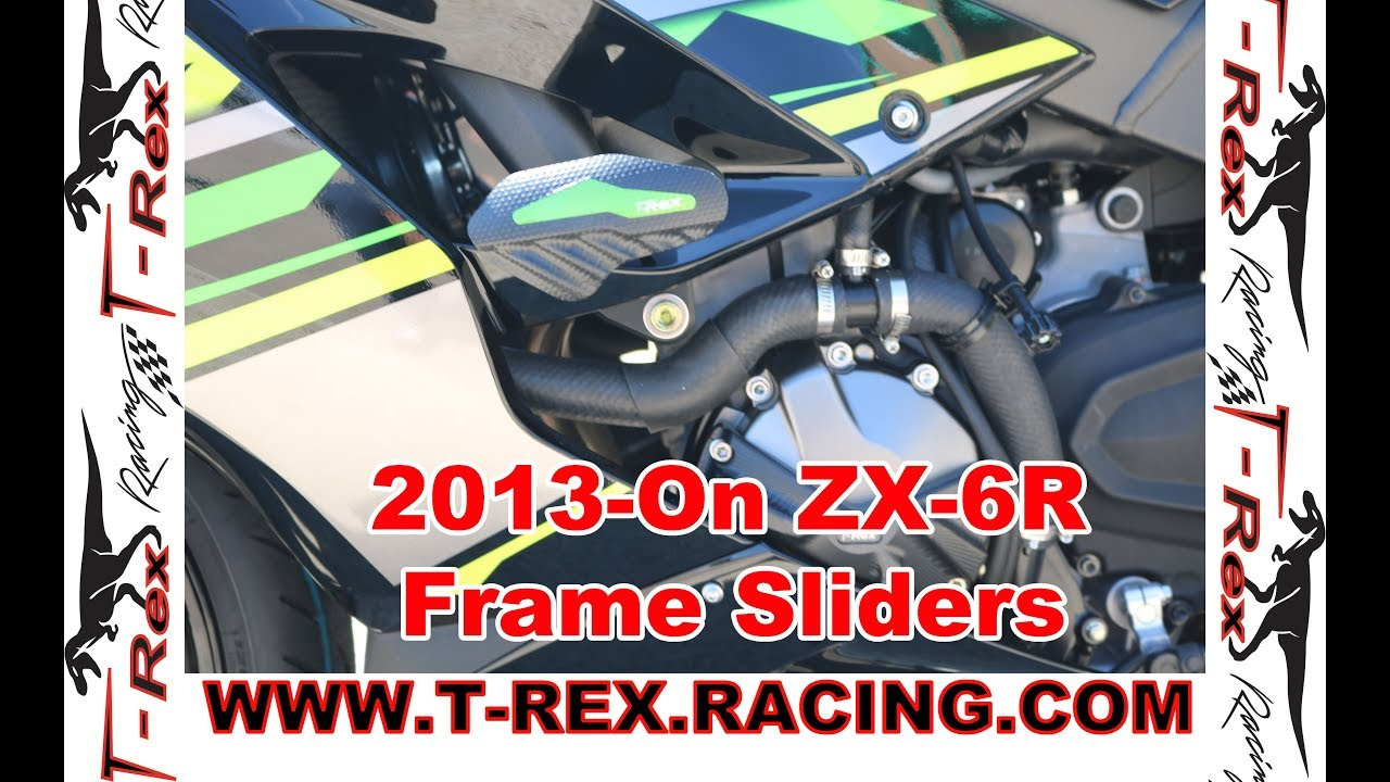 T-Rex Racing No Cut Frame Sliders for Kawasaki 2019 Ninja ZX-6R Green