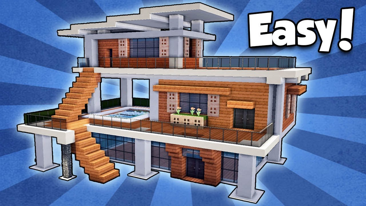 minecraft how to build a modern house easy tutorial
