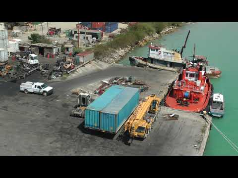 overview of commercial dock and container terminal of Antigua Port Authority (extended view)