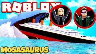 Can The NEW RTHRO Survive THIS Shark Attack? Roblox SharkBite Mosasaurus vs Titanic