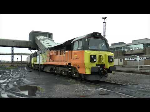 Aberthaw Power Station, unloading coal with 70809. 21st Aug.2017