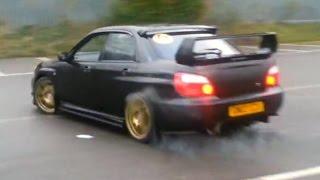Brutal Subaru Impreza STI Big Donut and Powerslide - by @thatblueevo6