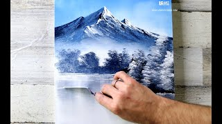 Mountain Lake | Easy Acrylic Painting for Beginners | Abstract Black and White Landscape