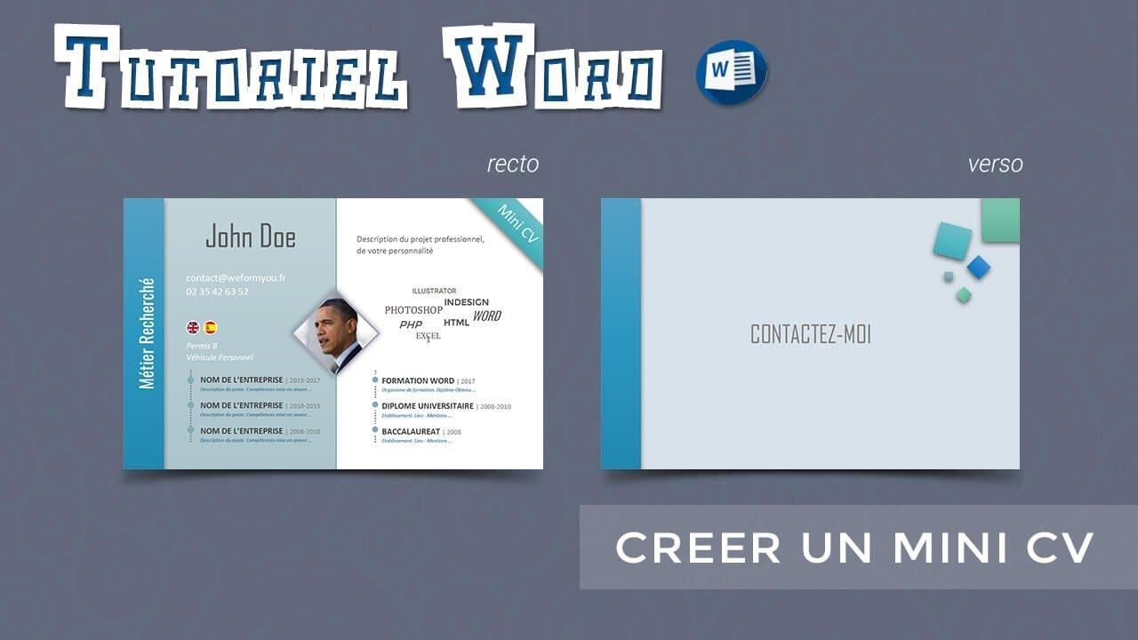 Word  Crer un mini CV  YouTube