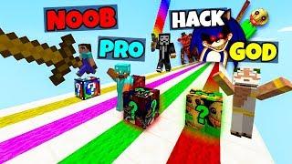 Minecraft: SCARY MONSTER LUCKY BLOCK RACE CHALLENGE - NOOB vs PRO vs HACKER vs GOD in Minecraft