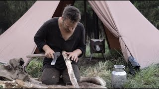 3 days solo bush¢raft trip - hot tent, rain, bats, sharpening tools, sea and forrest, cooking meat