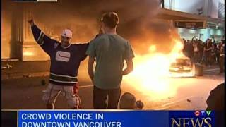 Crowd Violence in Downtown Vancouver - 2011 Stanley Cup Riots June 15th, 2011 (on CTV)  Part 1