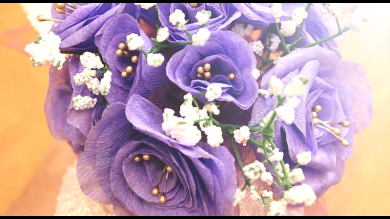 DIY - How to Make Lavender Purple Crepe Paper Flowers in Under 5 ...