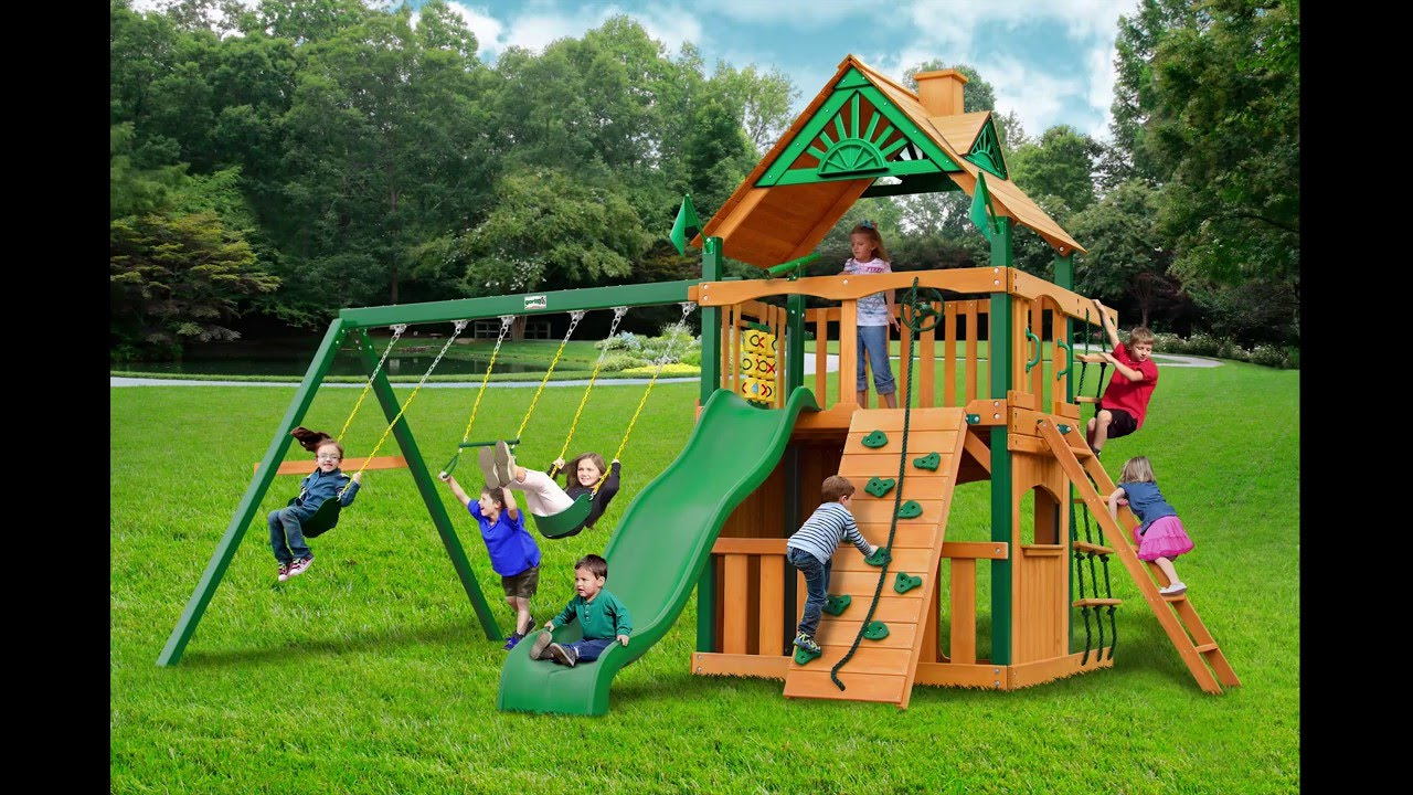 Chateau Clubhouse Swing Set w Timber Shield Wood Roof