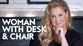 Amy Schumer's Advice on How to Not Give A Shit | Woman with Desk and Chair | InStyle