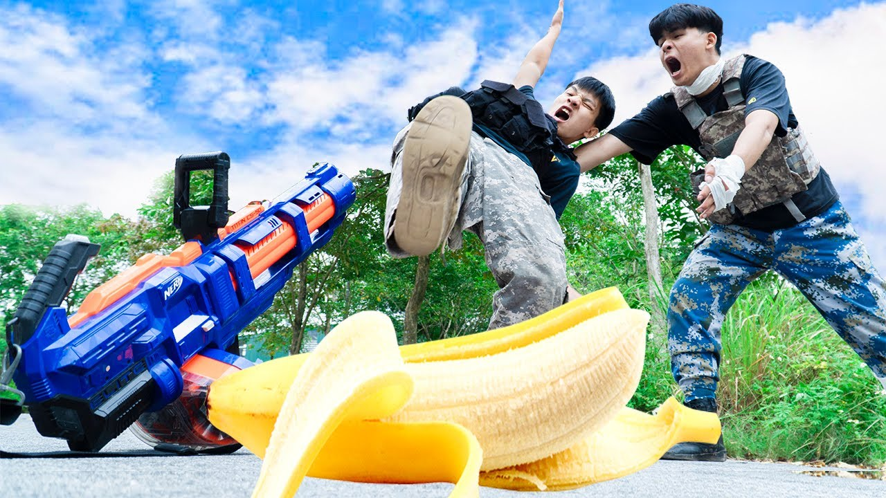 Battle Nerf War: Competition Nerf Guns BANANA PEEL BATTLE
