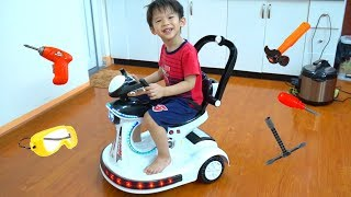 Xavi and Power Wheels ride on for kids