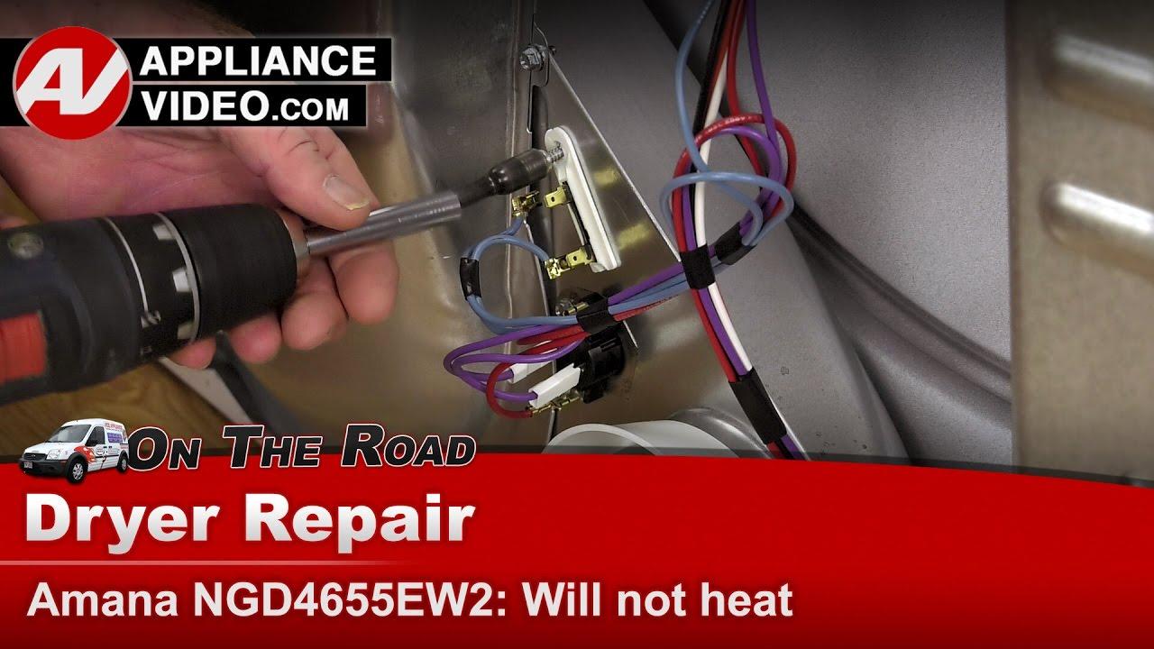 amana whirlpool kenmore dryer not heating diagnostic repair [ 1280 x 720 Pixel ]