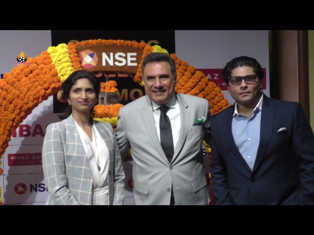 Boman Irani With Libas Riyaz And Reshma Gangji At Ringing The Bell At NSE