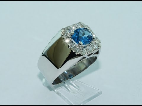 Handmade 14KT White Gold Ring With London Blue Topaz And Diamonds