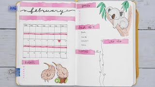 Plan With Me: Cute Australian Animals February Bullet Journal Set Up