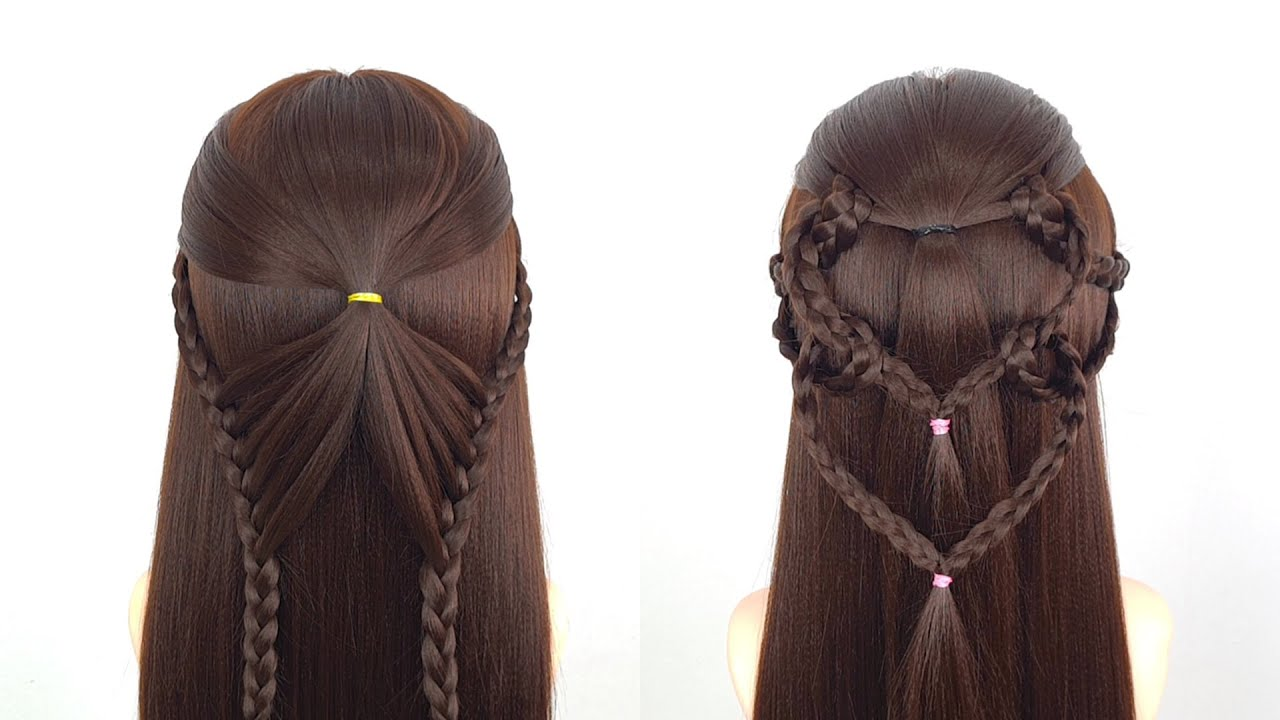 Easy open hairstyle for girls   Cute party wedding hairstyle   Heart hairstyle for birthday girl