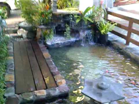 Koi pond with waterfalls in quezon city philippines youtube for Small pond filter design
