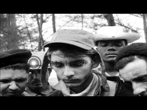 Che Guevara Talks And Cubans Receive Red Chinese Guns And Anti Aircraft Guns In C...HD Stock Footage
