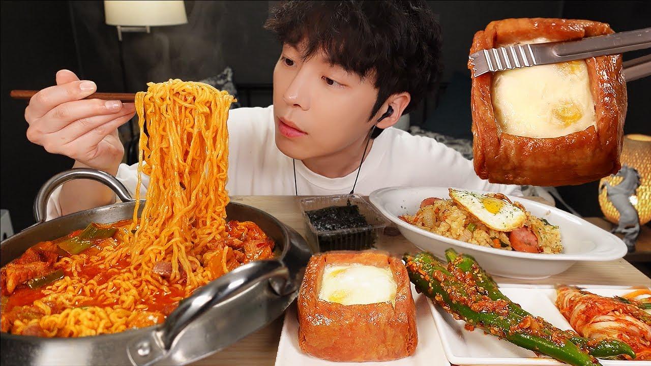 MUKBANG | 집밥! 직접 만든 김치 라면 & 계란 통스팸, 소세지 야채 볶음밥 먹방 | RECIPE KOREAN HOME FOOD الأرز المنزل Nhà gạo