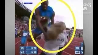 Usain Bolt CRASHES into spectator after setting 100m World Record!!!