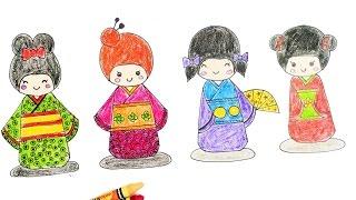 Coloring Kokeshi   learn color with Kokeshi