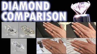 Repeat youtube video Diamond Size Comparison Color Clarity 2 Carat 1 Ct Ring on Finger Hand 3 .5 1/2 Cut Price vvs women