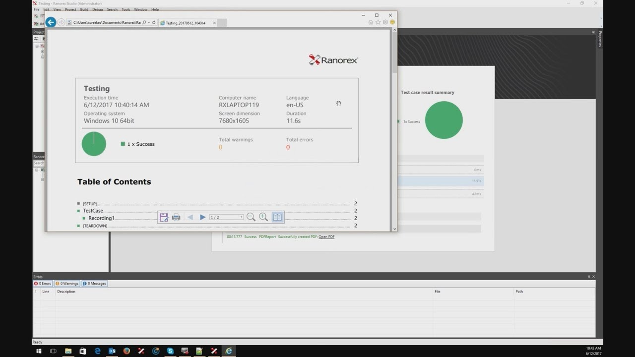 Convert your Ranorex Report to PDF