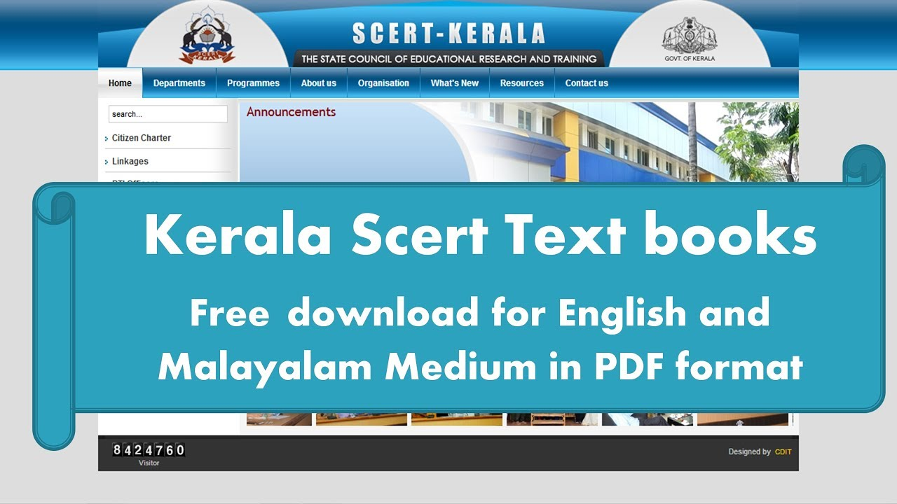 Kerala Scert Text book download for Free English and Malayalam Medium in  PDF format