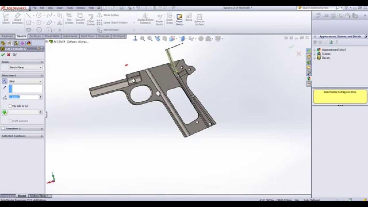receiver gun- solidworks - YouTube