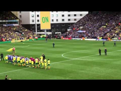 Norwich 1-1 Ipswich, 2017 East Anglia Derby -- Teams Come Out
